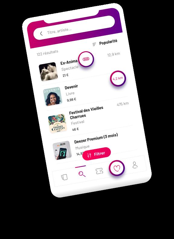 ici se trouve un prototype de l'application sur un écran de téléphone portable qui présente l'écran des offres