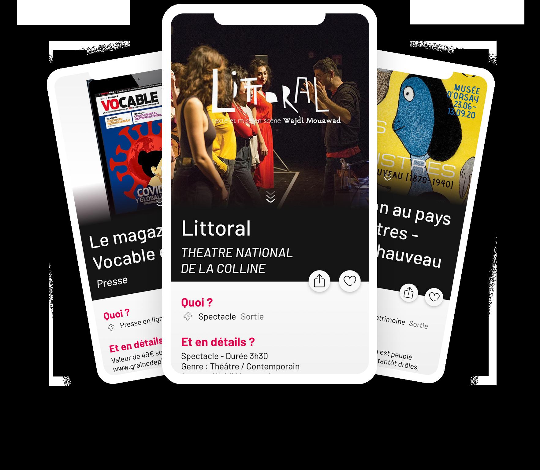 ici se trouve une image d'un prototype d'affichage de l'application qui présente 3 offres digitale, au théâtre national de la colline et au musée d'orsay