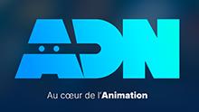 Logo du service de VOD ADN en bleu