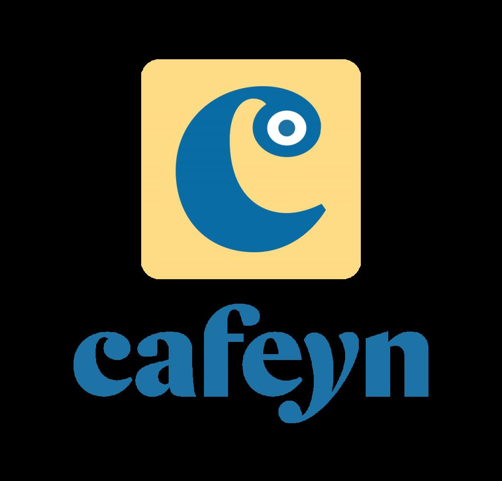 Logo en bleu et jaune de Cafeyn