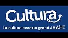 Logo de Cultura sur fond bleu